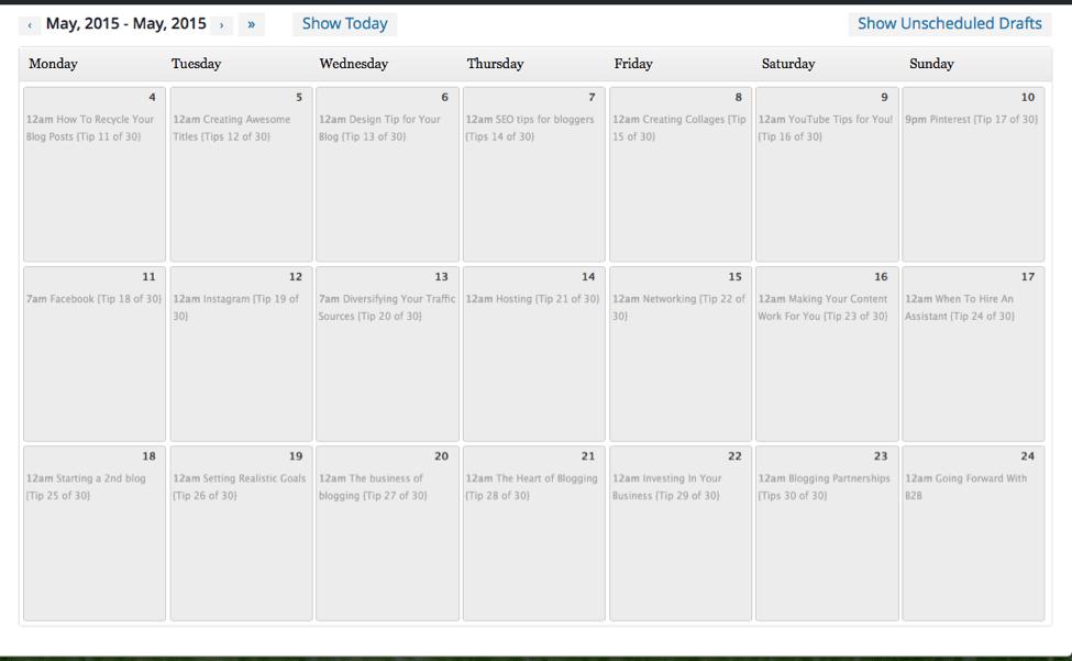 Editorial Plugin Calendar